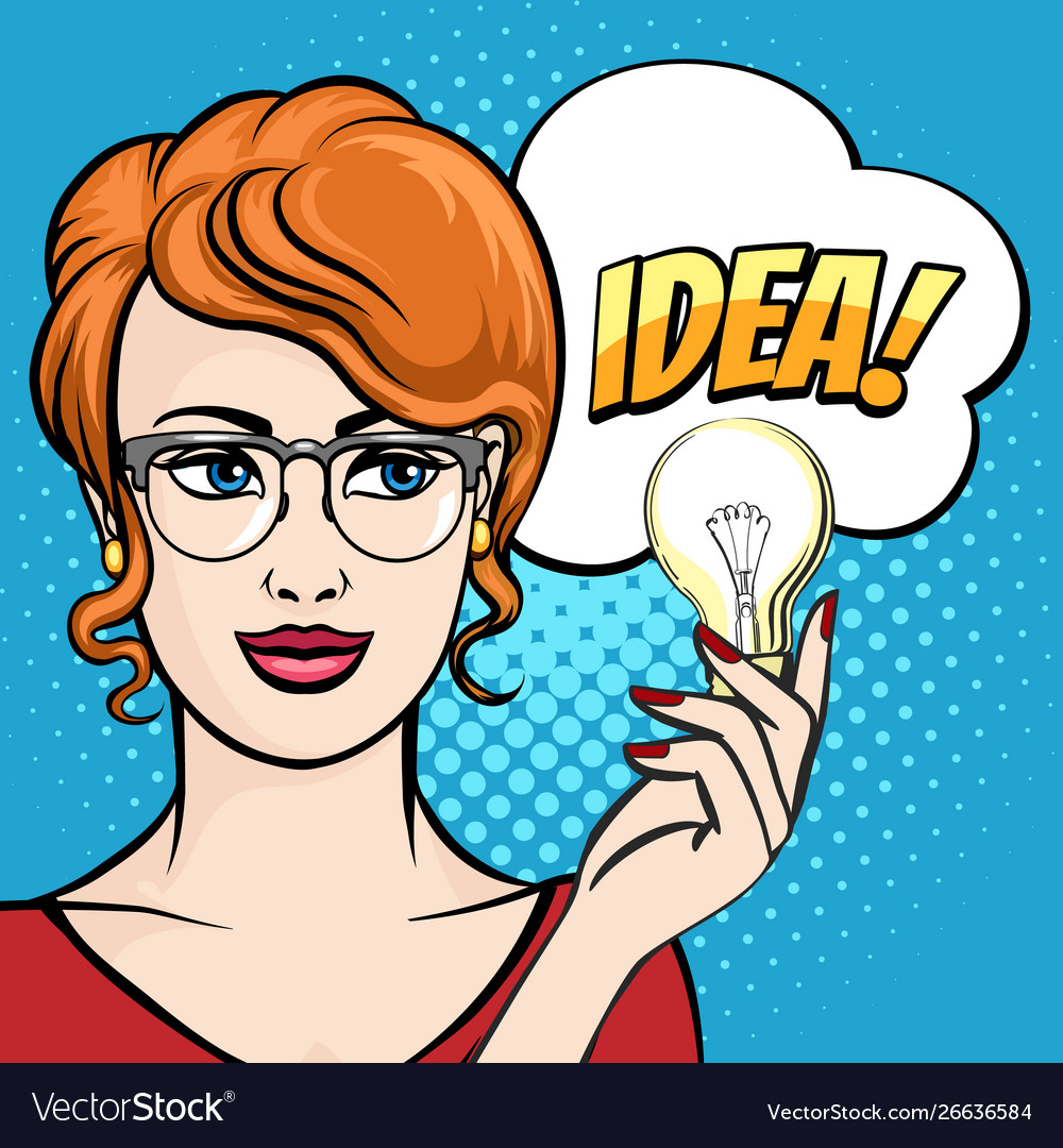 Woman holds light bulb with speech bubble drawn