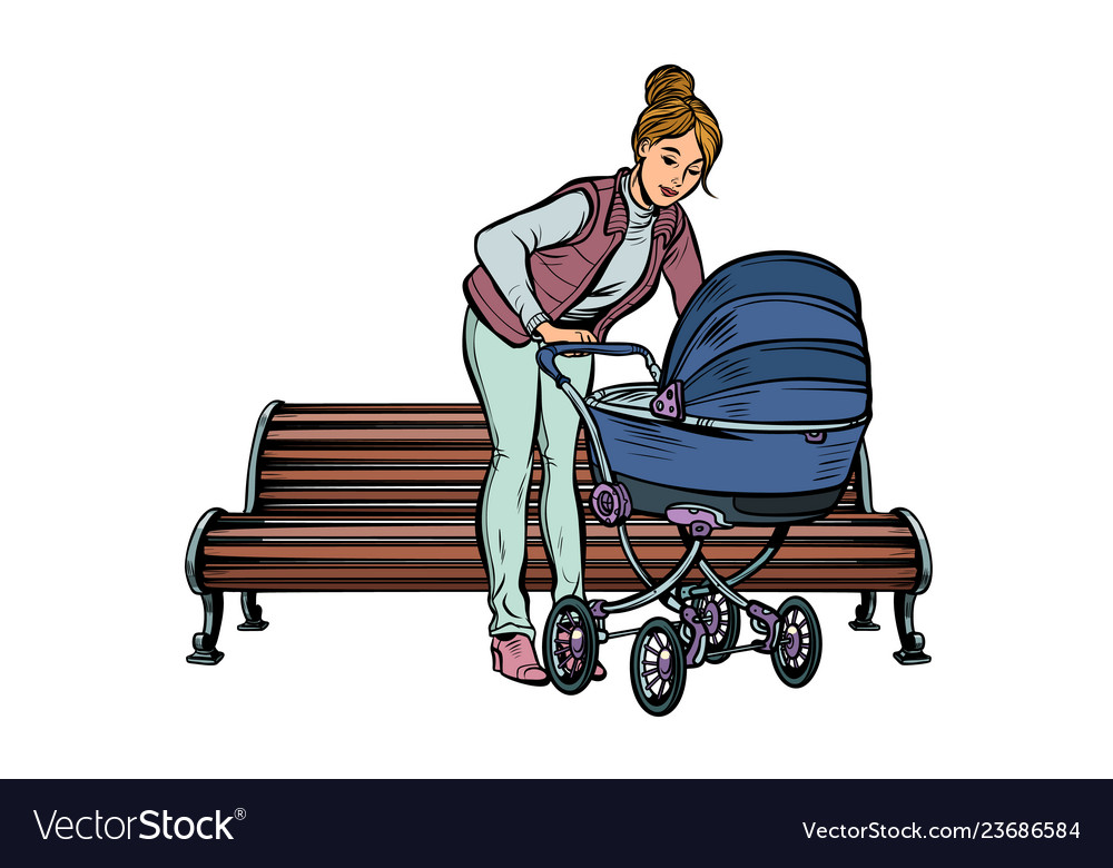 Young mother with a baby carriage park bench
