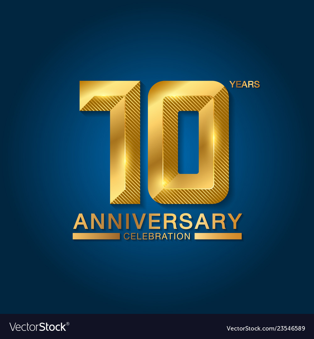 10 years anniversary celebration logotype golden