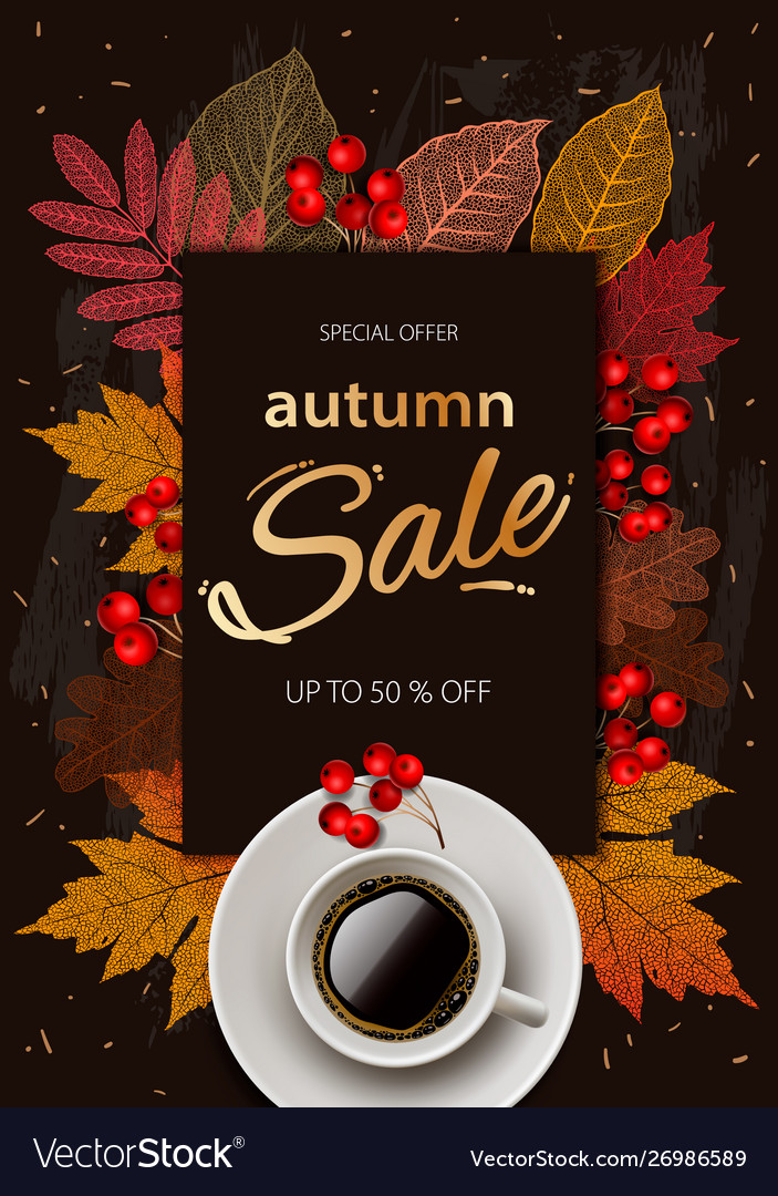 Autumn sale fall season sale and discounts banner