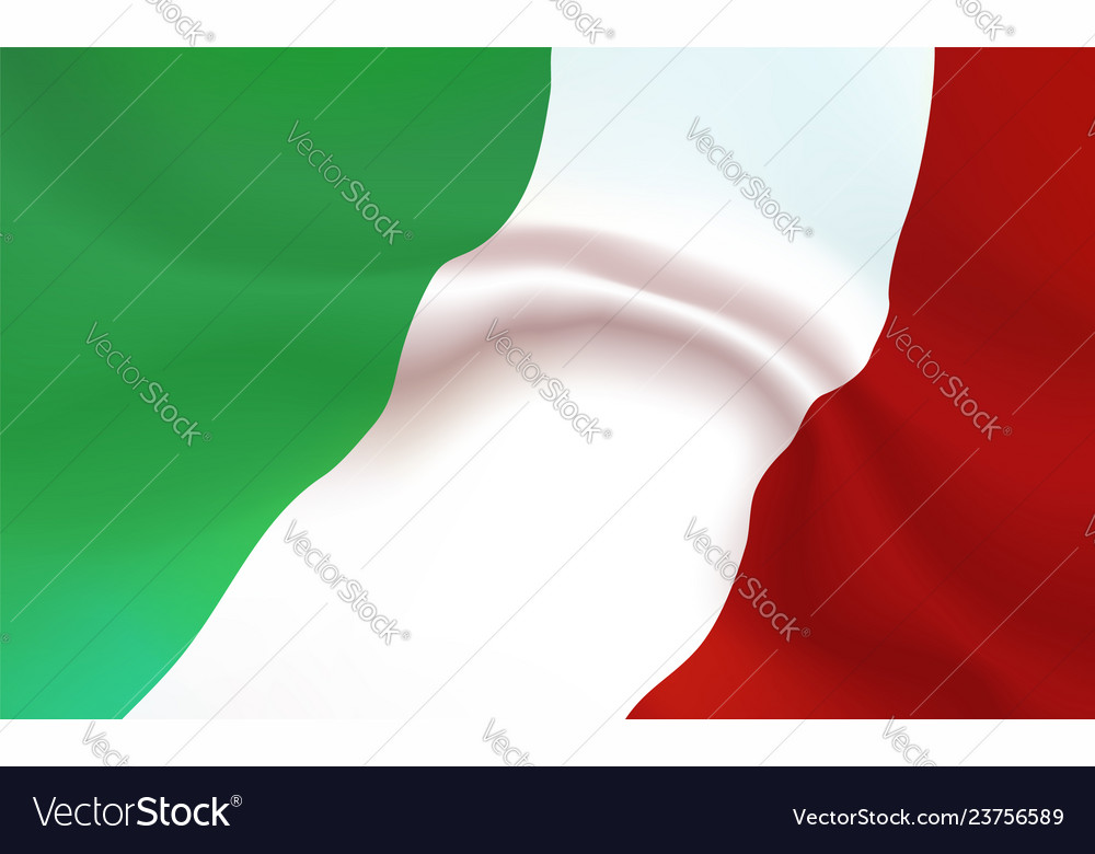 Background italy flag in folds tricolour banner