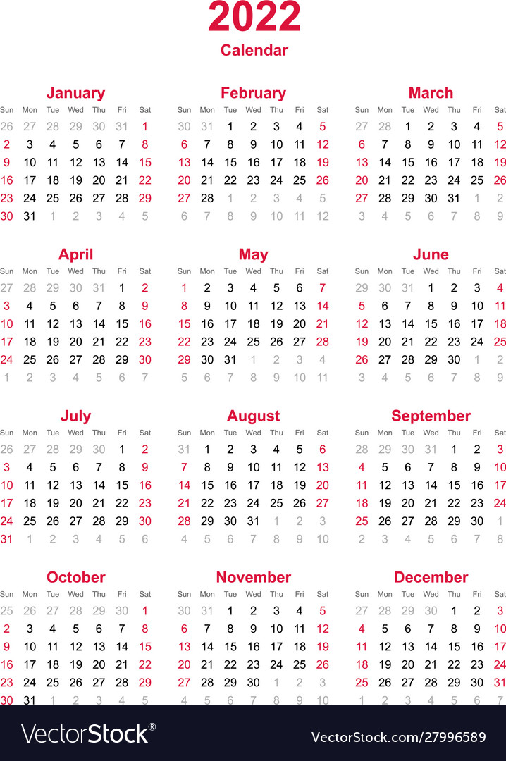 2022 Calendar Months.Calendar 2022 12 Months Yearly Calendar Vector Image