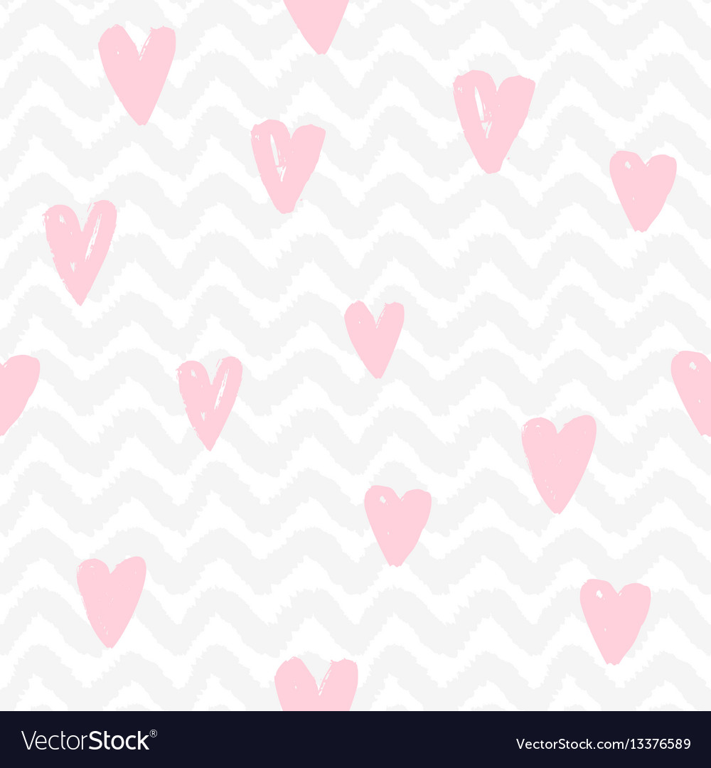 Chevron and hearts seamless pattern
