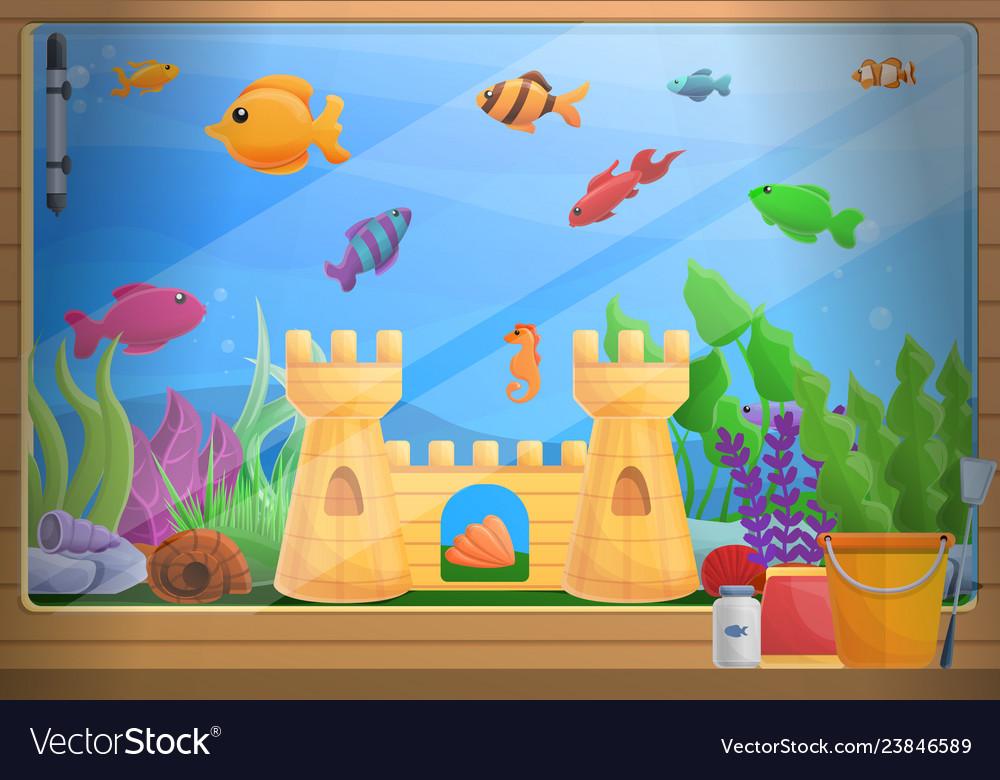 Home Aquarium Concept Background Cartoon Style