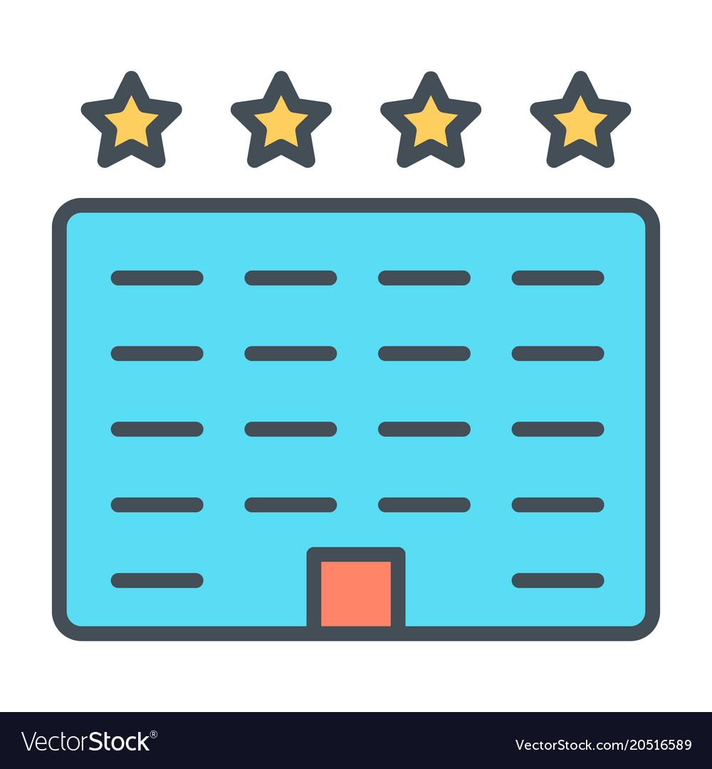 Hotel line icon simple minimal 96x96 pictogram