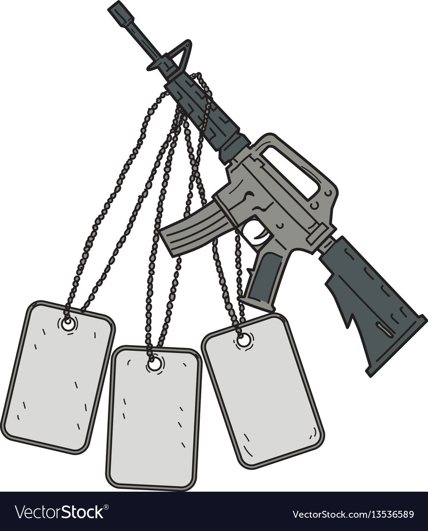 M4 carbine dog tags hanging drawing
