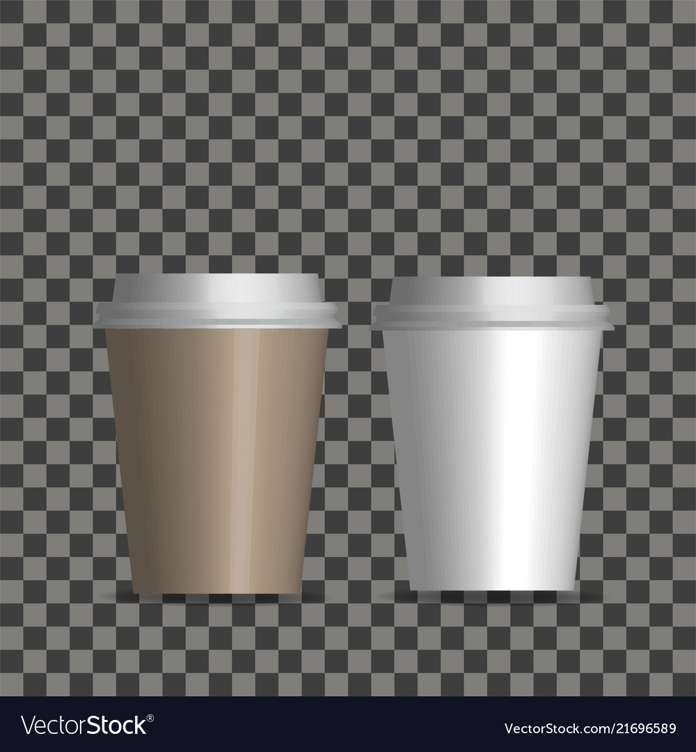 Realistic blank paper coffee cup set
