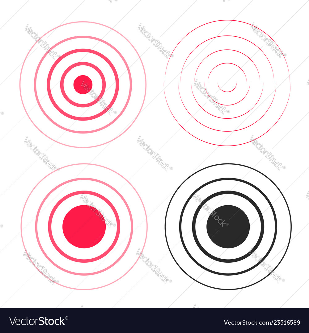 Red ripple rings sound waves icons set line
