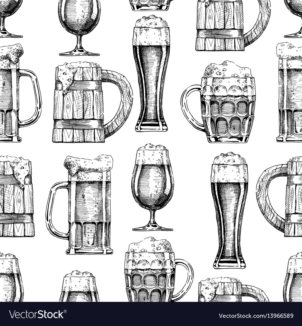 Seamless pattern with different beer glasses and