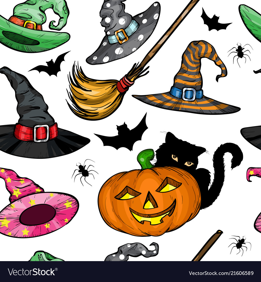 Seamless pattern with witch hats halloween