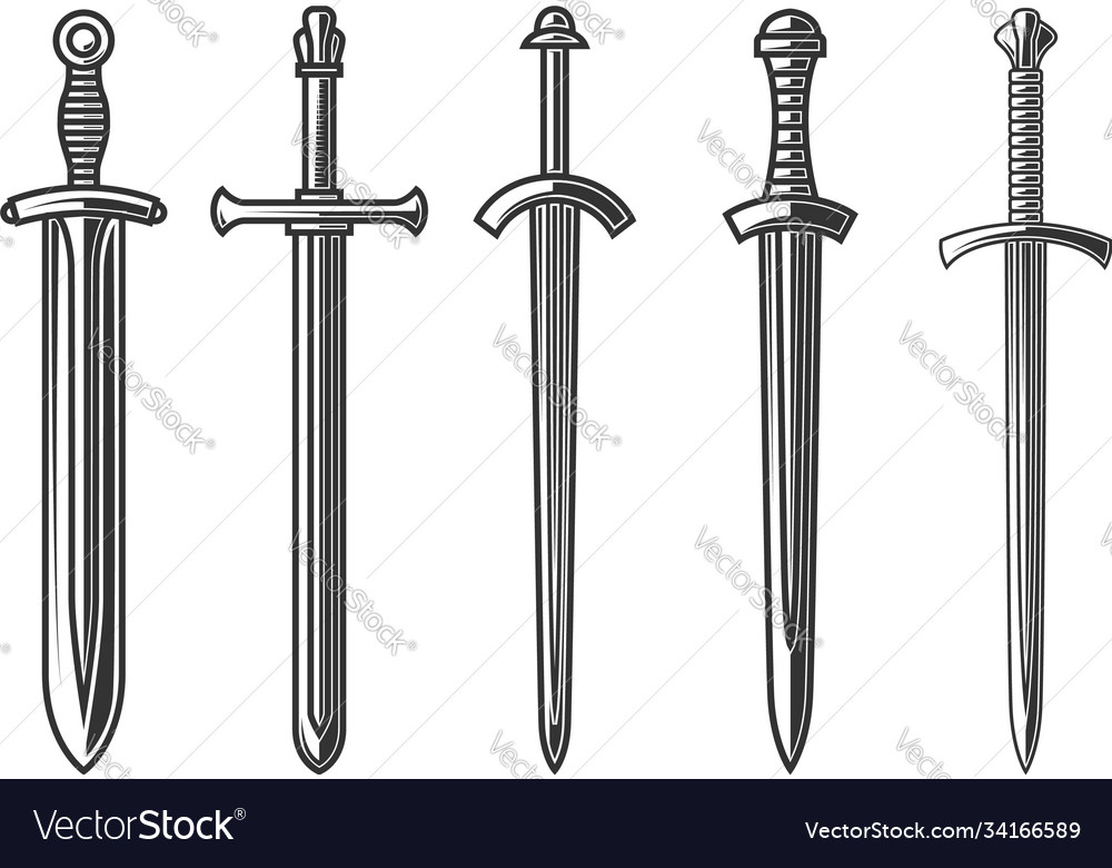 Set ancient swords in engraving style