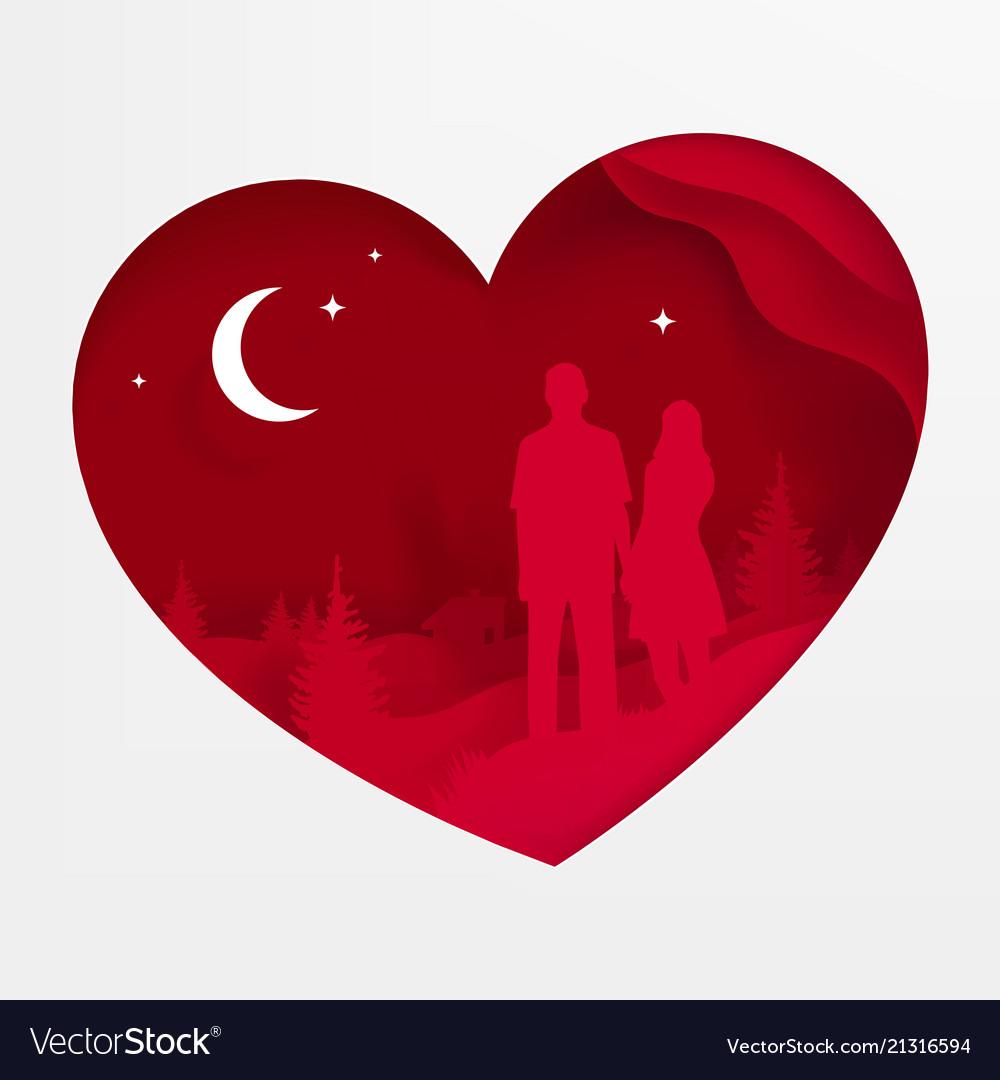 A heart postcard on valentine