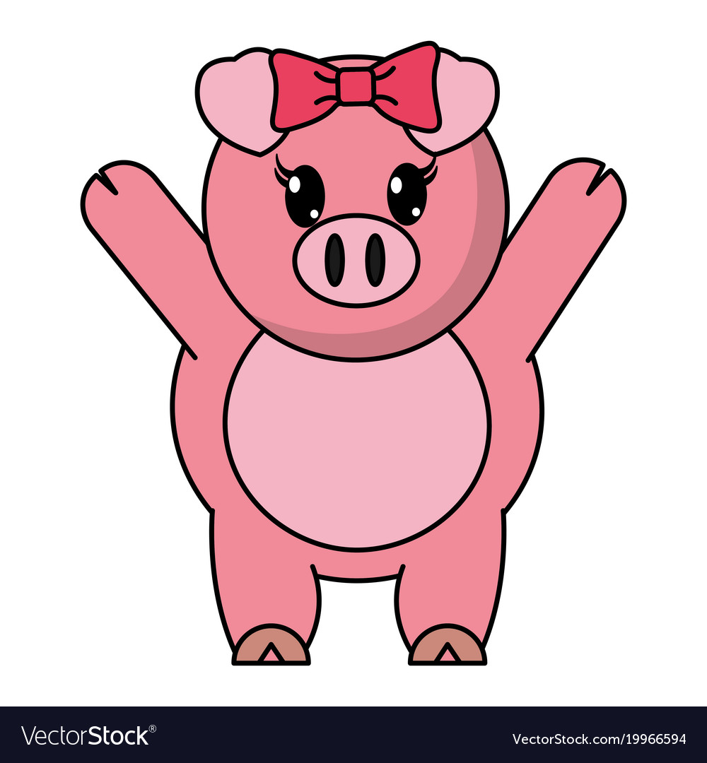 Adorable female pig animal with hands up