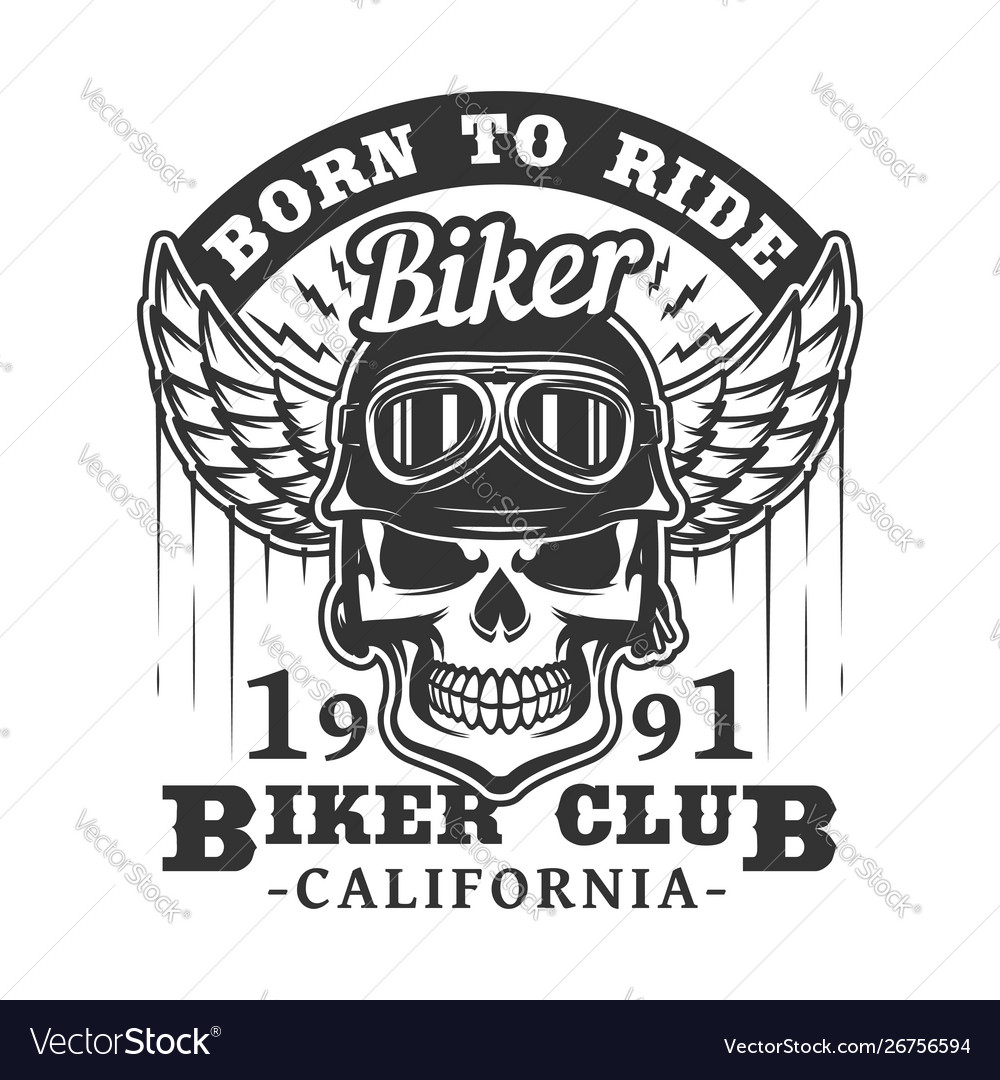 Born to ride biker club skull and wings badge