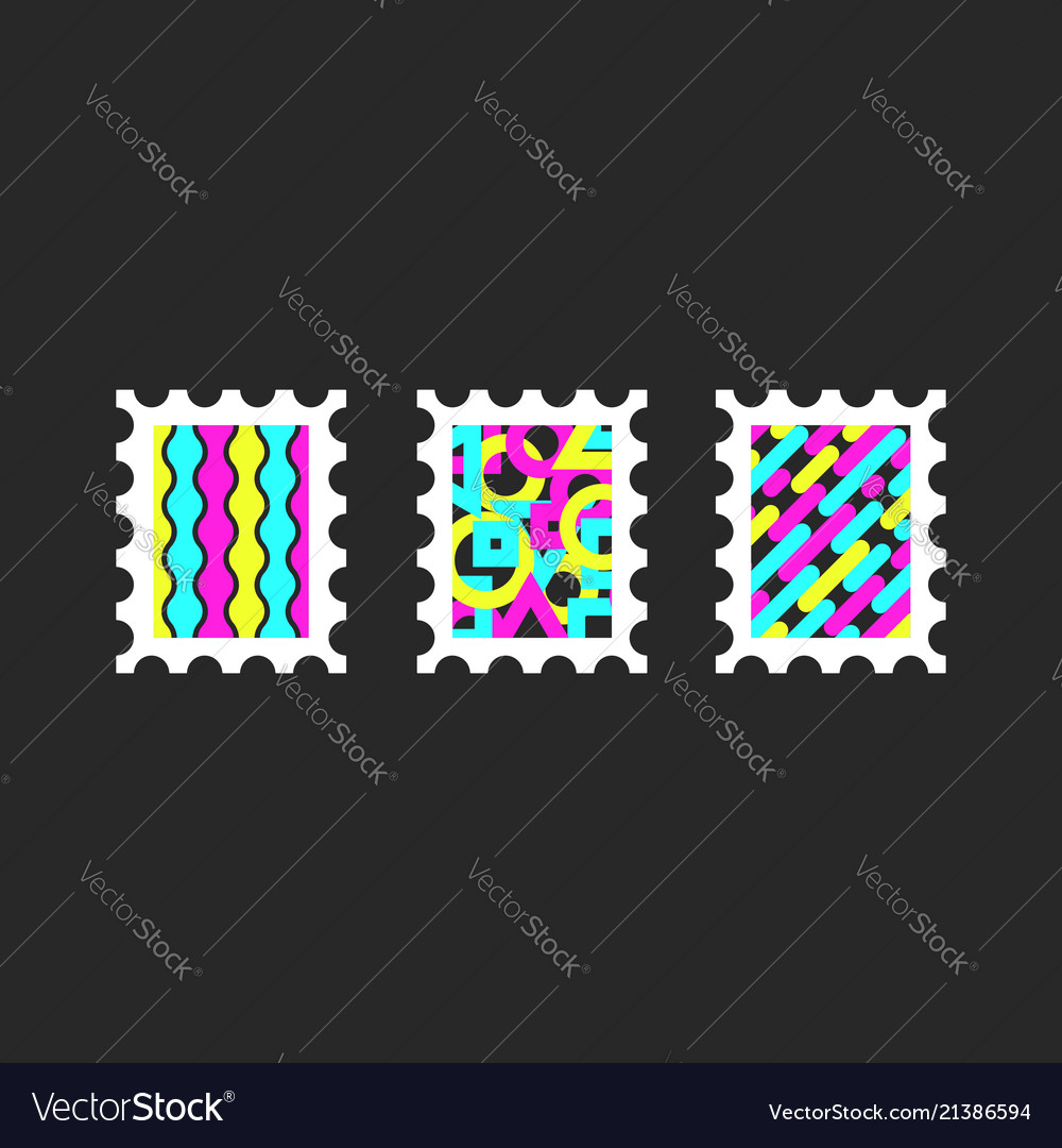 Colorful postage stamps dynamic geometric shapes