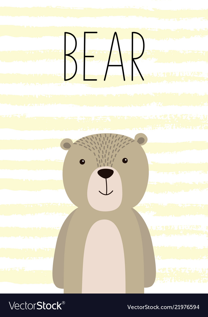 Cute card with hand drawn bear poster card