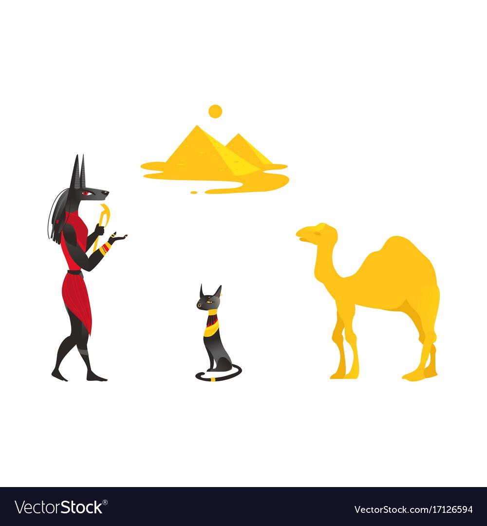 Egypt symbols - anubis black cat camel pyramids