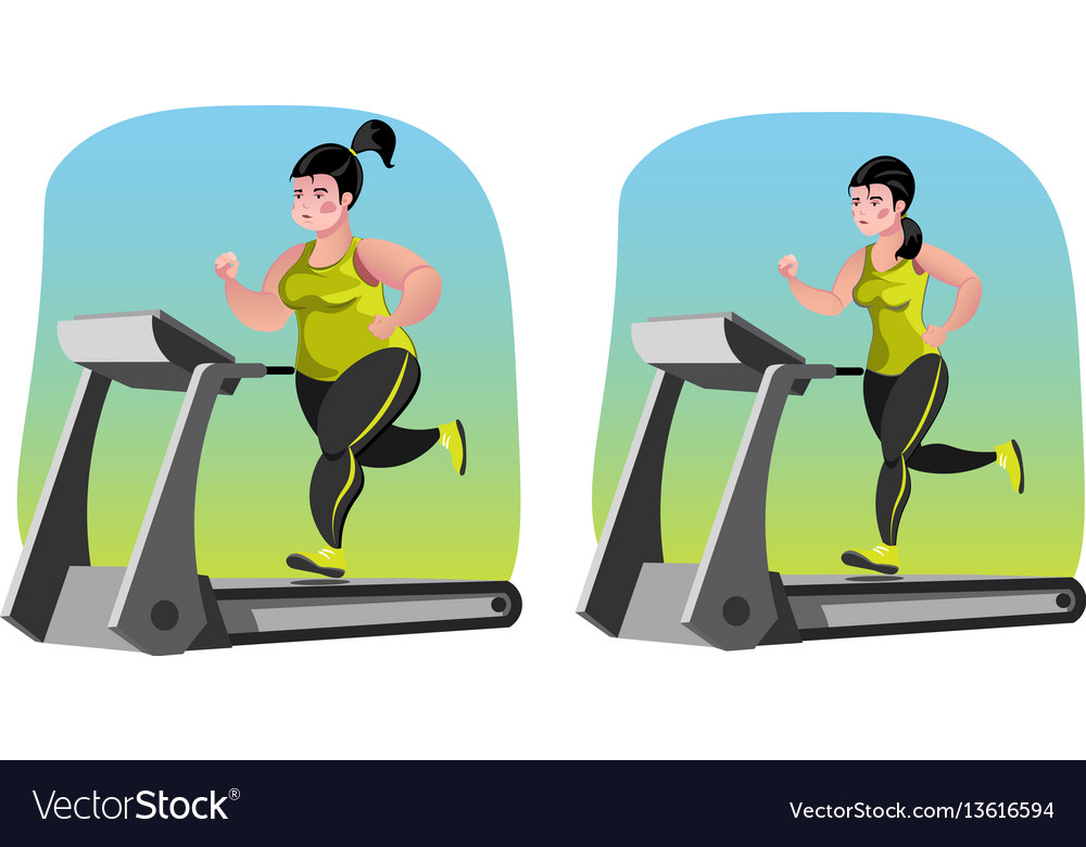 Girl fat before and after vector image