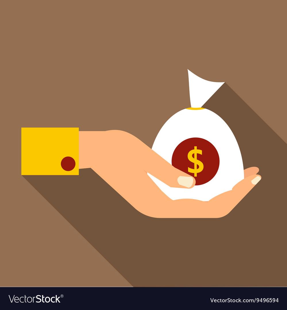 Hand holding money icon flat style
