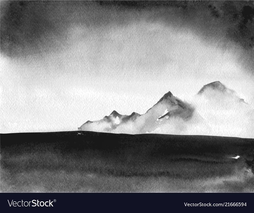 c3ec91f01 Ink wash painting landscape with distant mountains vector image