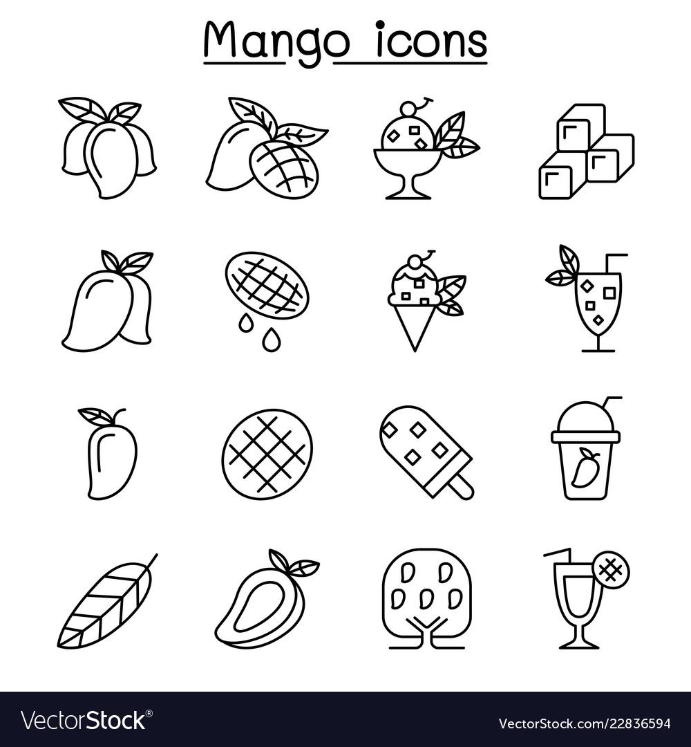 Mango icon set in thin line style