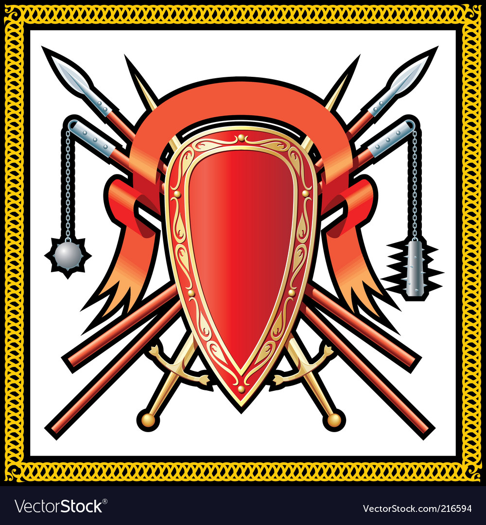 Medieval shield icons vector image
