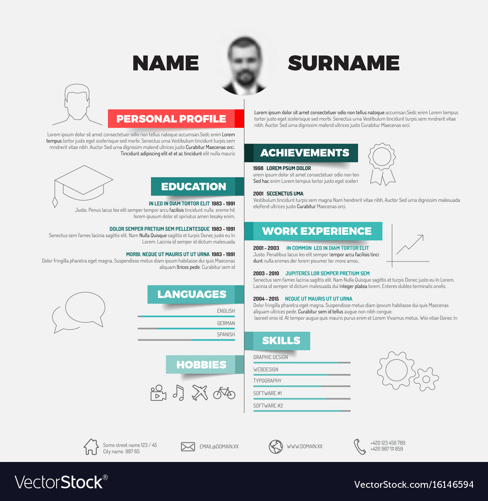 Minimalist Cv Resume Template Royalty Free Vector Image