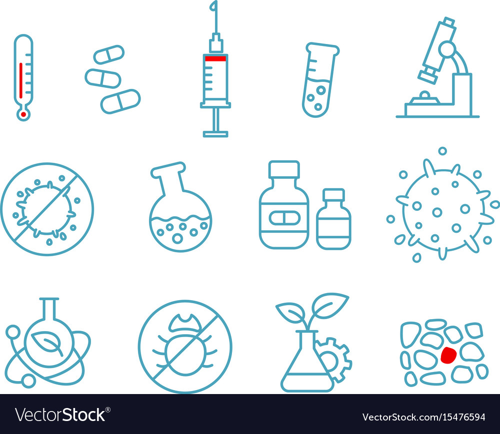 Set of icons medicine health drug chemistry and vector image