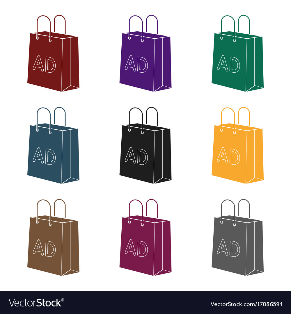 Shopping bag advertising icon in black style