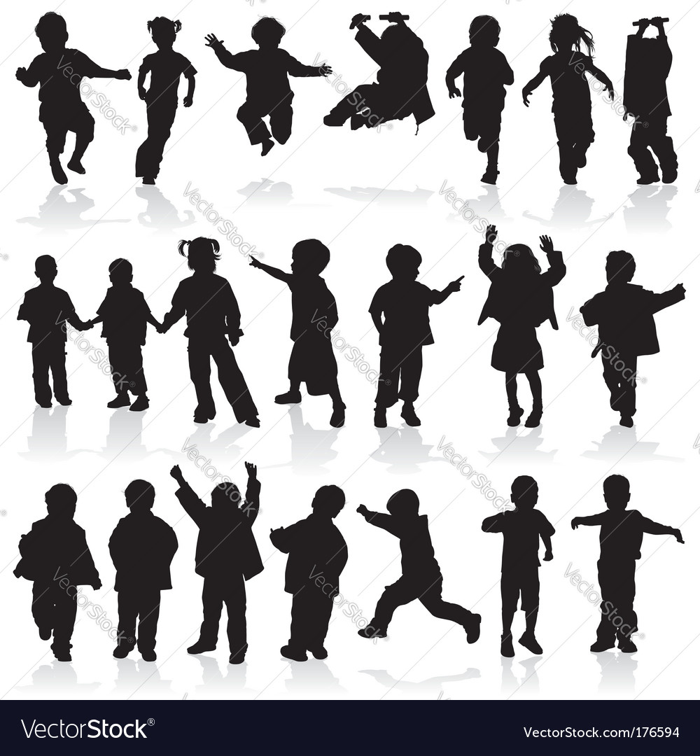 Silhouette girls and boys