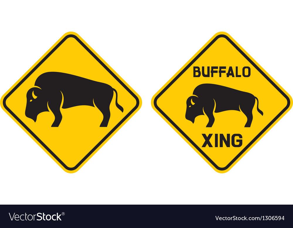Warning buffalo sign vector image