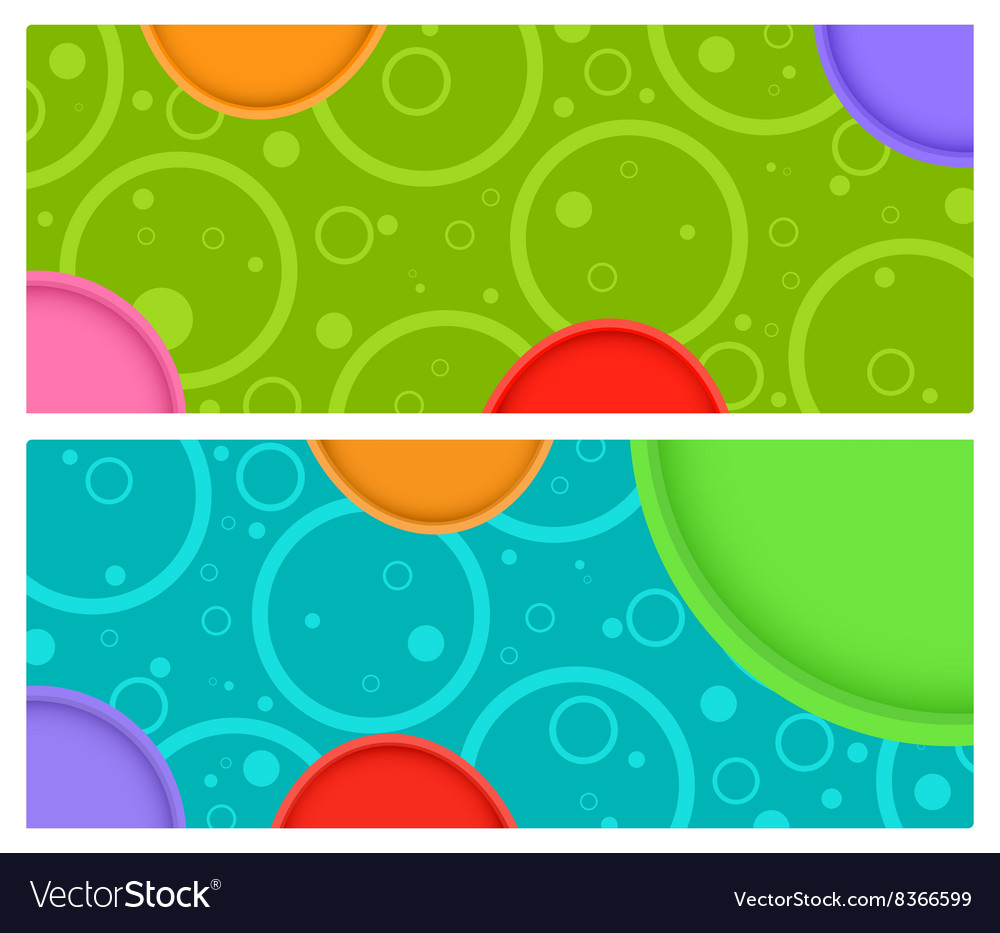 2 horizontal banner with circles and circles with