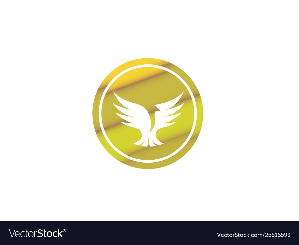 Bird dove open wings flying logo design pigeon
