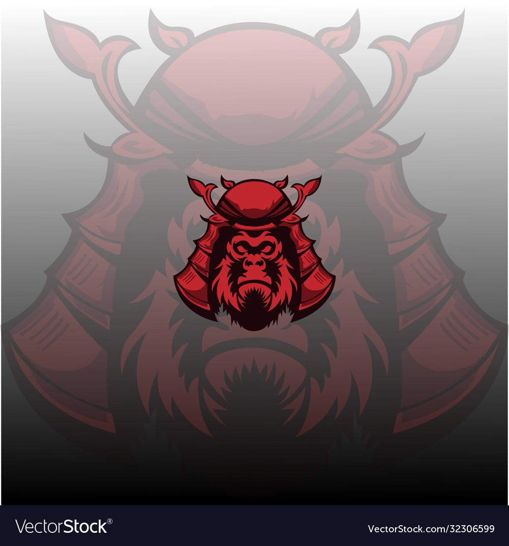 Gorilla samurai mascot logo