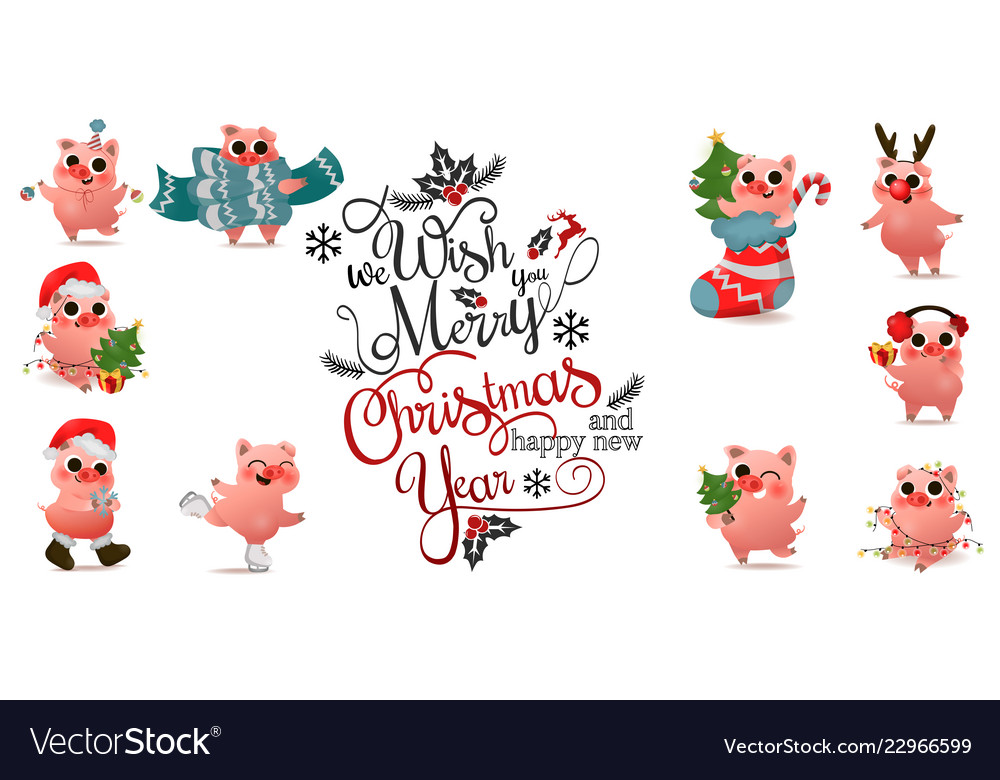 Happy chinese new year pig set with christmas
