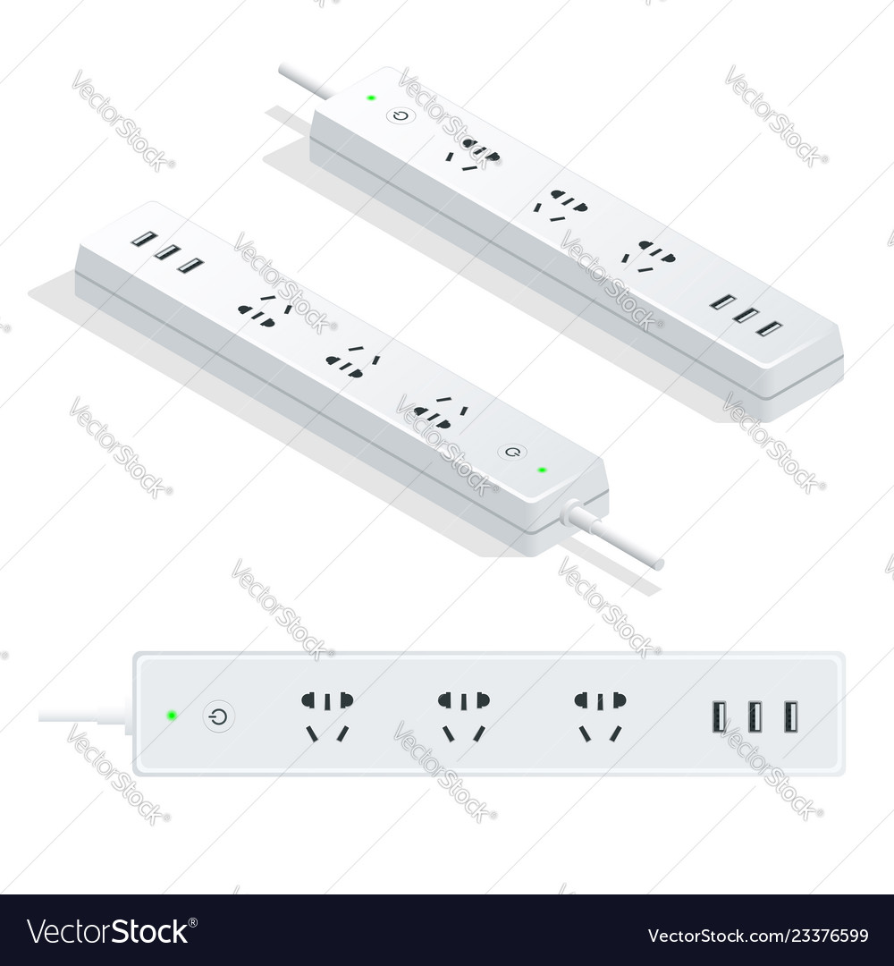 Isometric electric extension cord isolated on