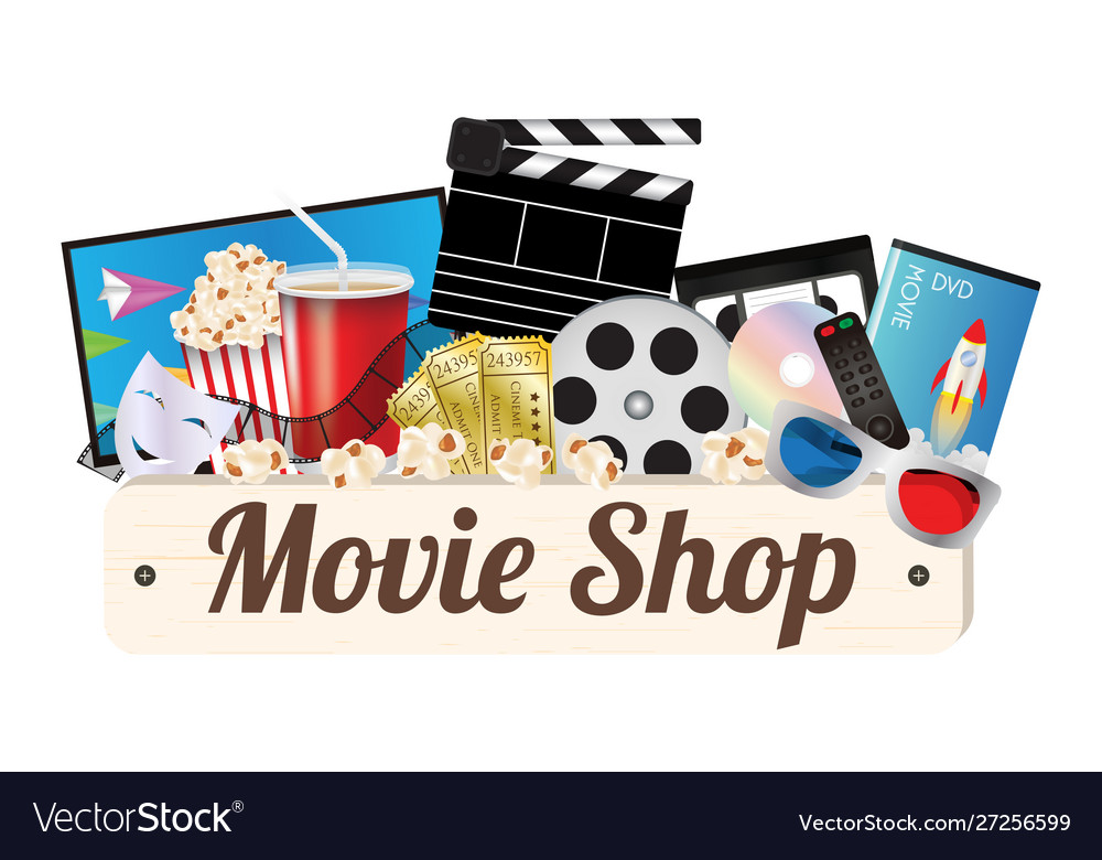Movie shop wood board Royalty Free Vector Image