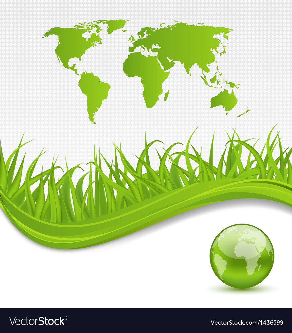 Nature brochure with global planet and grass