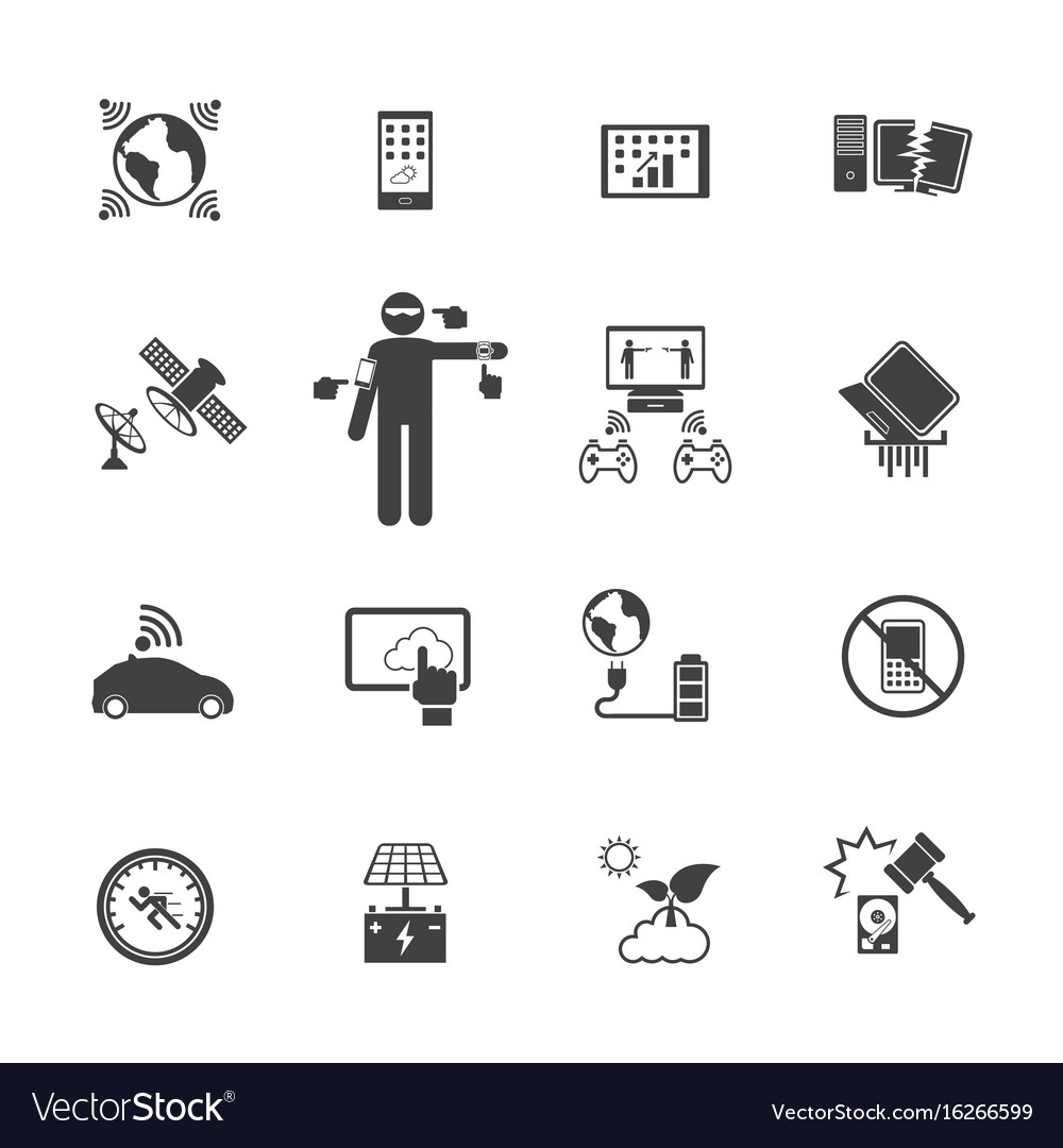 New technology trends icons set flat design for