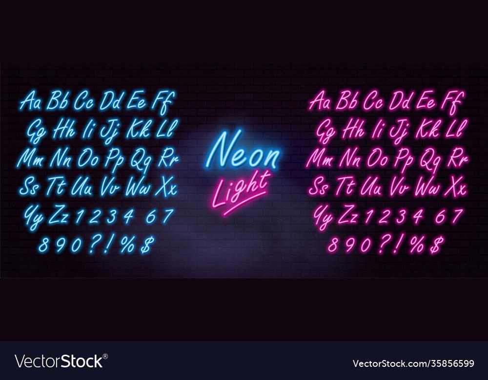 Realistic neon alphabet on dark brick wall
