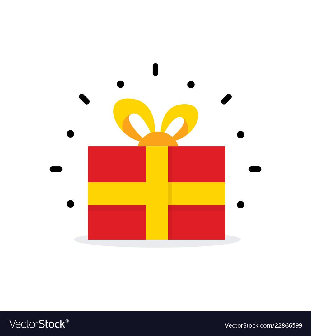 Red gift box surprise box simple cartoon