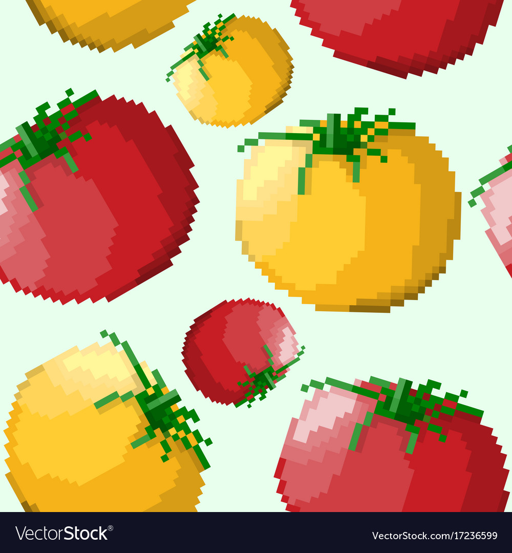 Seamless pattern of pixel tomatoes