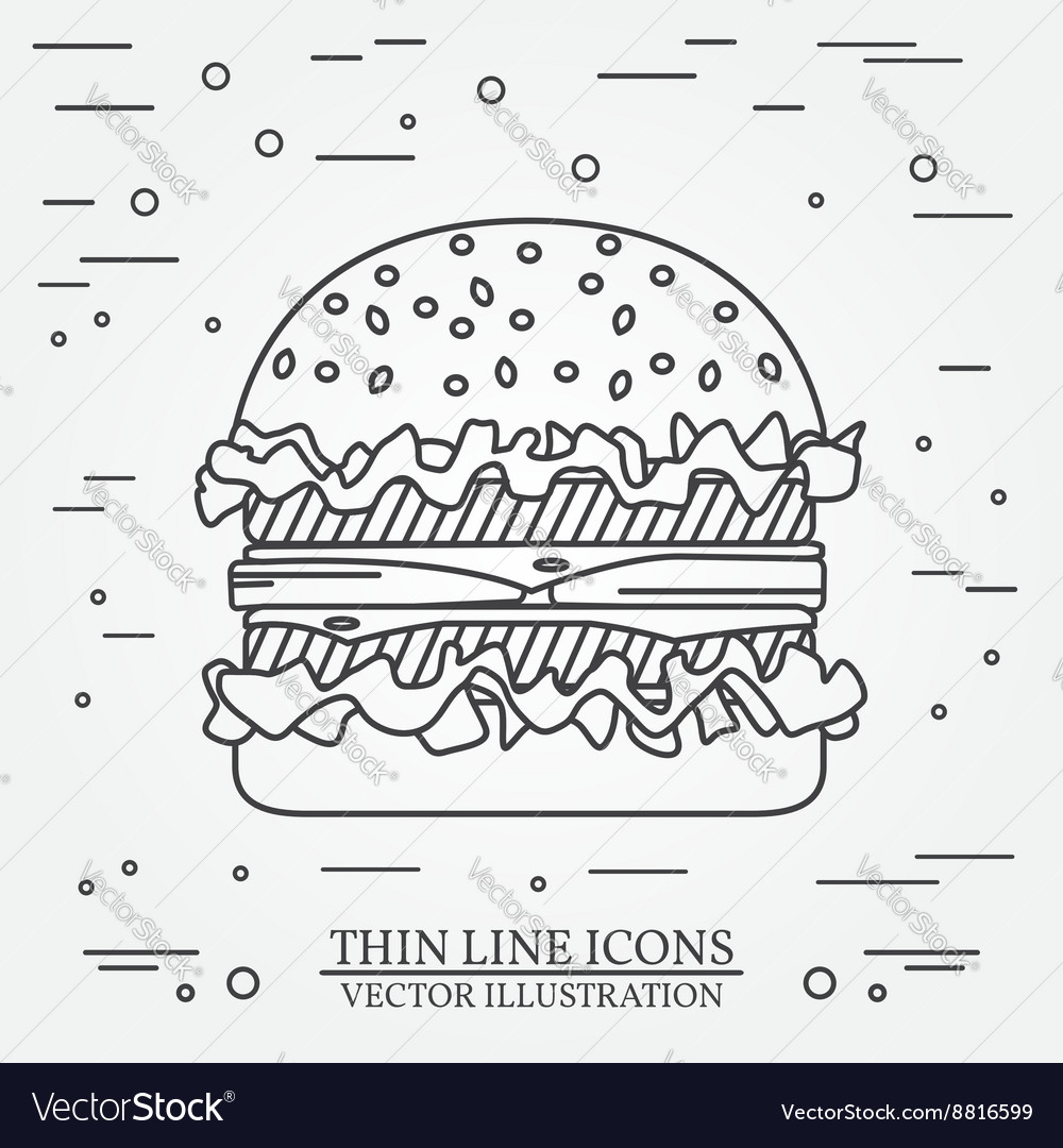 Thin line icon burger For web design and