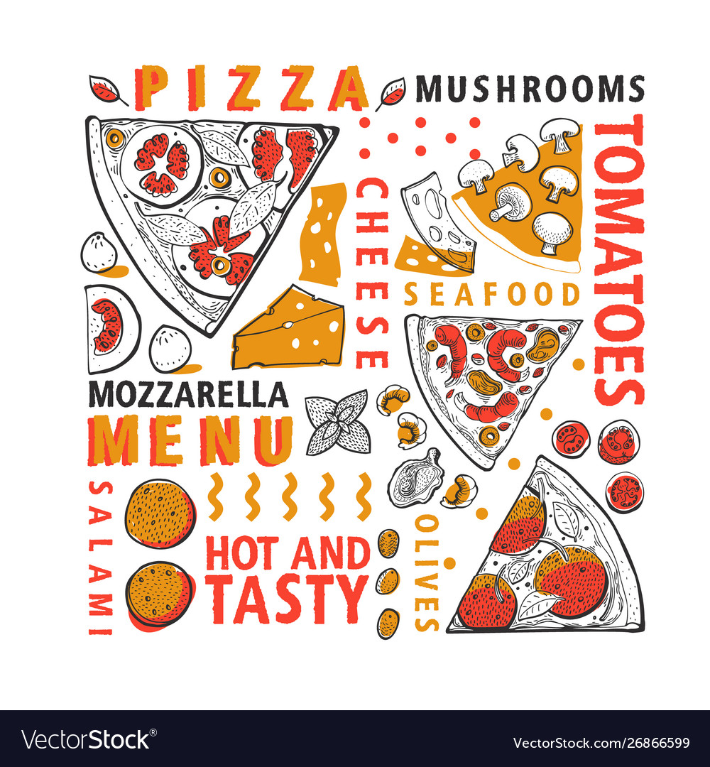 Typographic italian pizza and ingredients banner