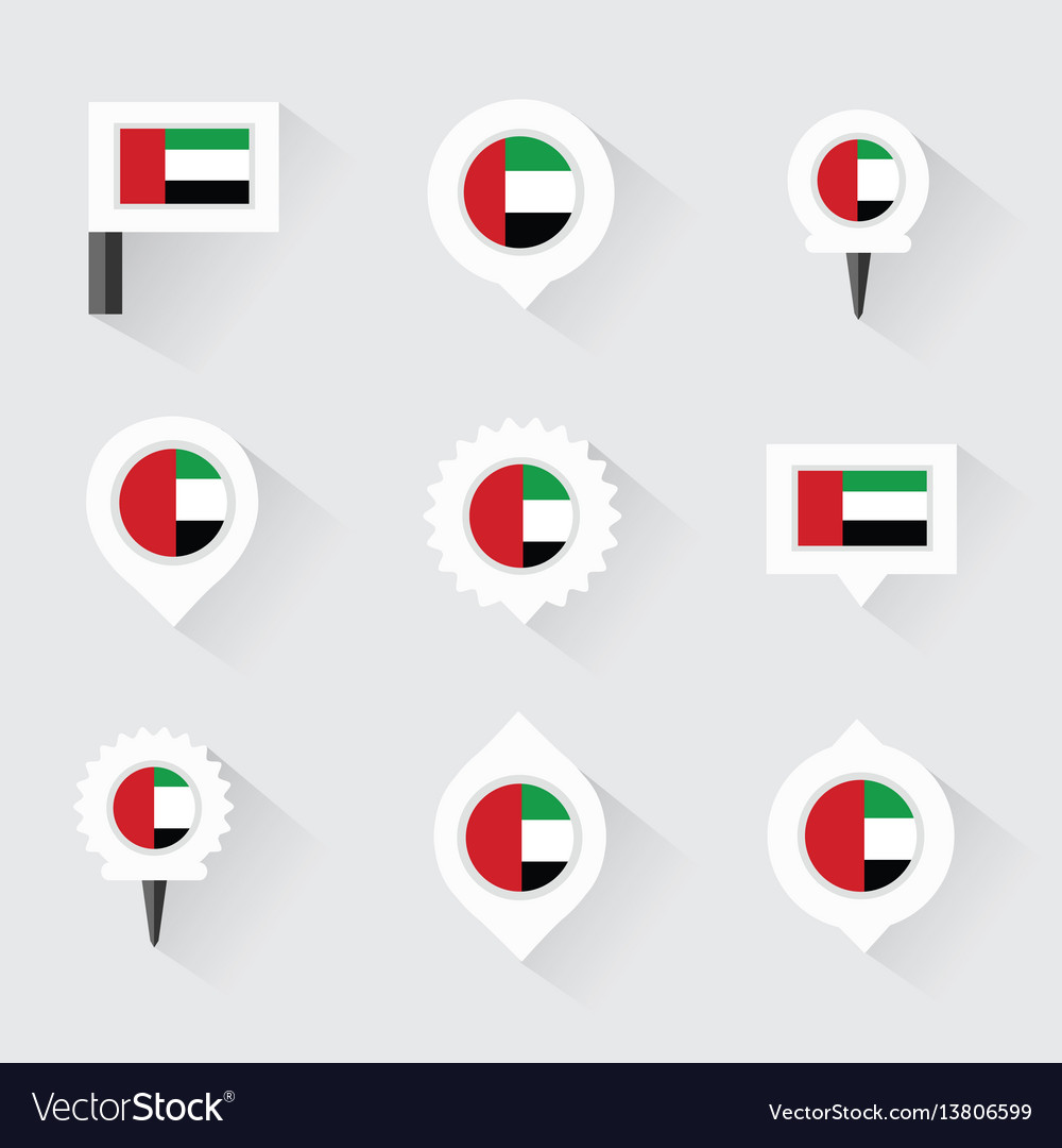 United arab emirates flag and pins for