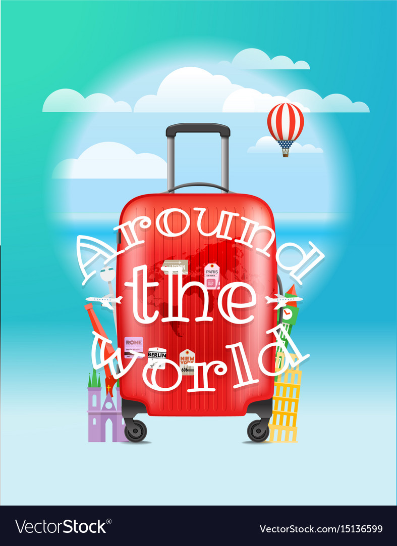 Vacation travelling concept around the world logo