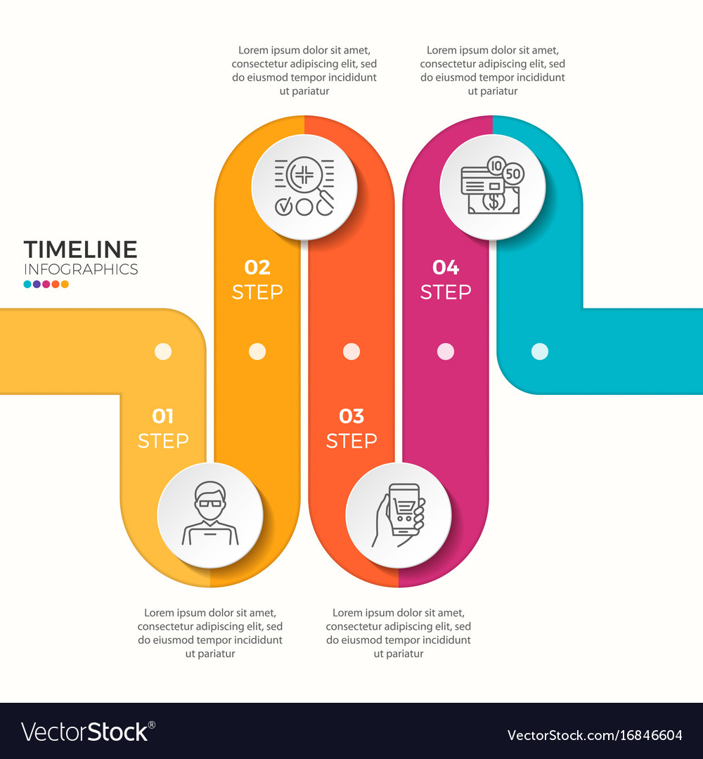4 steps winding colorful timeline infographic vector image