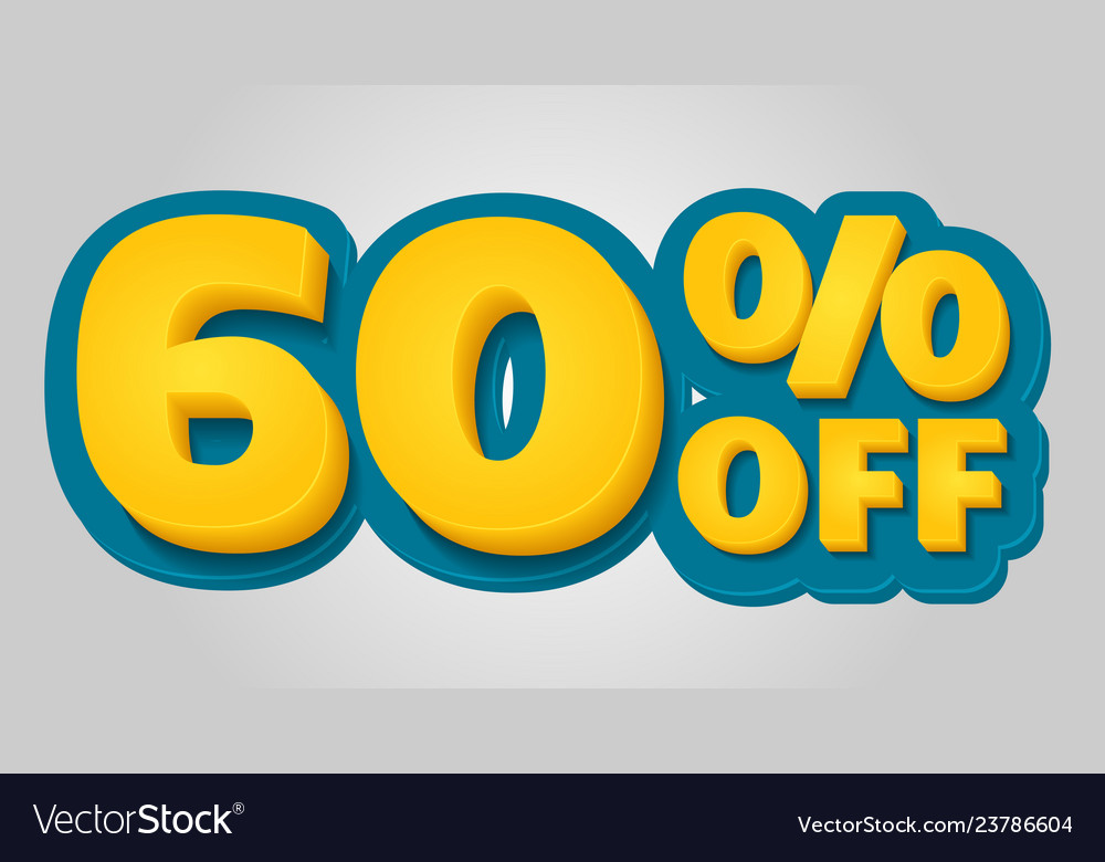 60 off discount banner special offer sale tag in
