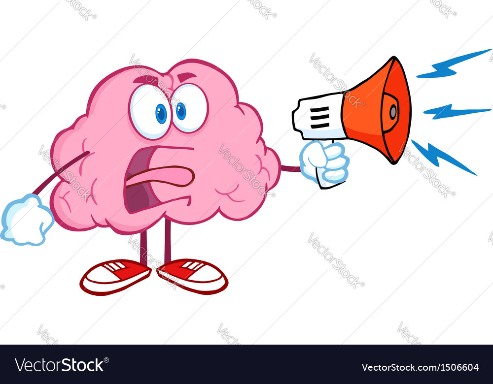 Angry Brain Screaming Into Megaphone