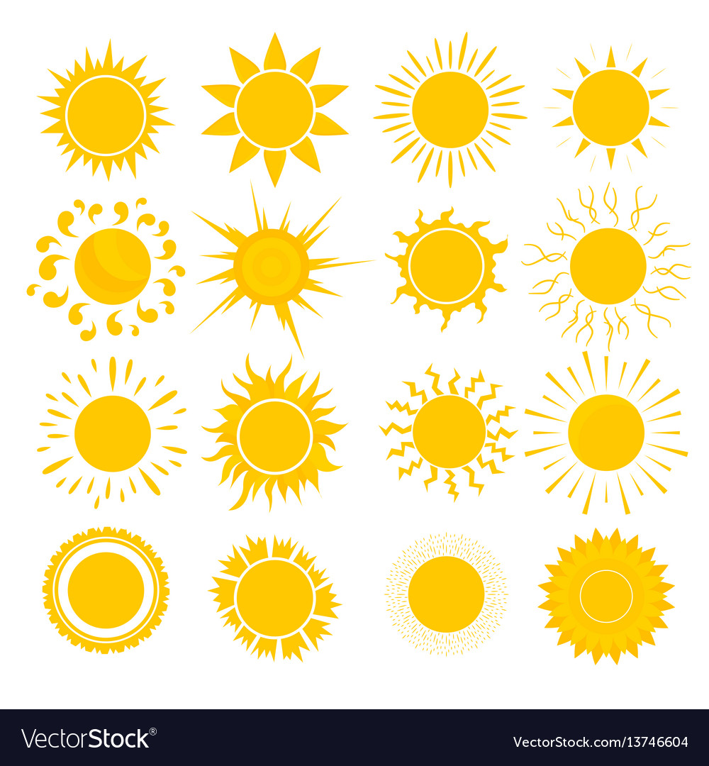 Cartoon yellow sun set
